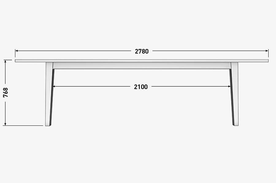 Solenn Design Tisch Knorke 04 Technische Zeichnung Seite